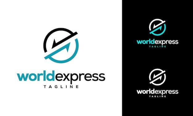 Logo di consegna world express, modello di logo vettoriale dell'azienda logistica