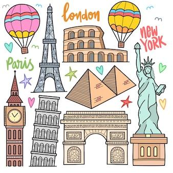 Edificio famoso in tutto il mondo e destinazione elementi grafici vettoriali colorati e illustrazioni scarabocchiate