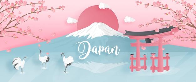 Punti di riferimento del giappone famosi del mondo con la montagna di fuji e la gru rosso-incoronata.