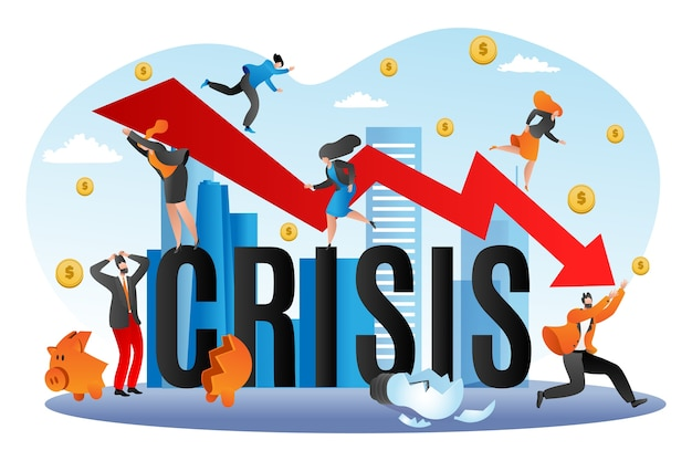 Crisi finanziaria mondiale, illustrazione di caduta economica. scendendo grafico della finanza, bancrupcy aziendale. concetto per fallimento finanziario, stock finanziato dall'economia. rischio investimenti, declino, depressione.