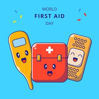 Giornata mondiale del pronto soccorso simpatici personaggi dei cartoni animati con cassetta di pronto soccorso, termometro e benda adesiva.