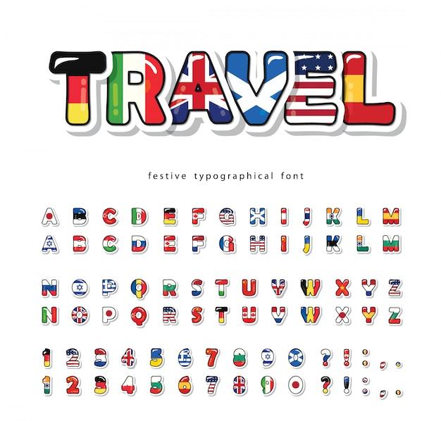 Carattere del fumetto di bandiere del mondo. alfabeto decorativo luminoso.