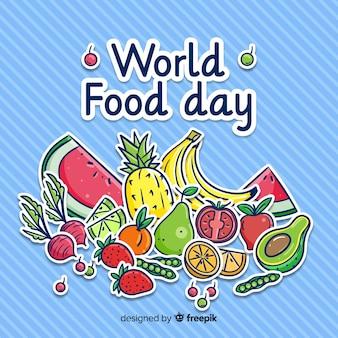 Concetto di giornata mondiale dell'alimento con sfondo disegnato a mano Vettore Premium