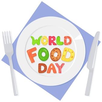 Lettere commestibili della giornata mondiale dell'alimentazione sull'iscrizione nutrizionale del piatto
