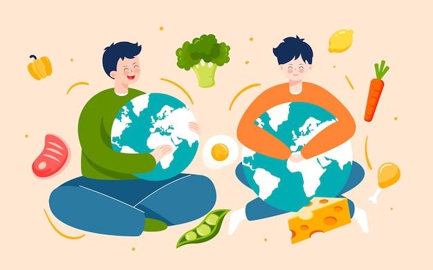 Giornata mondiale dell'alimentazione illustrazione di un'alimentazione sana poster verde sulla sicurezza alimentare