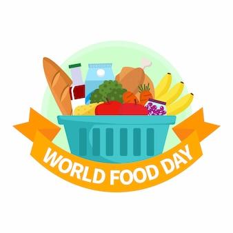 Illustrazione della giornata mondiale dell'alimentazione. cesto di generi alimentari