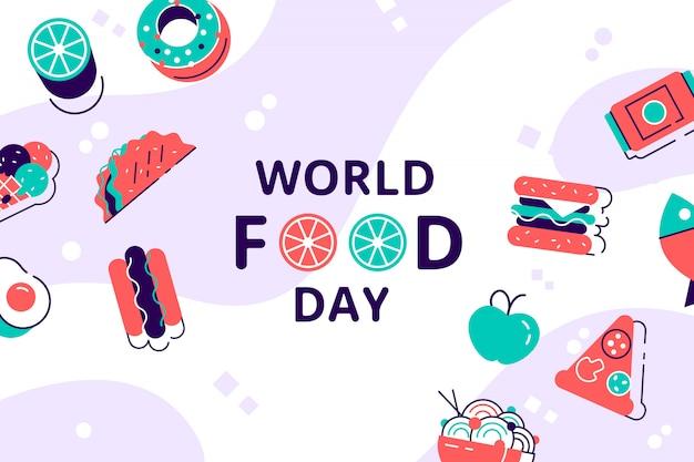 Illustrazione della giornata mondiale dell'alimentazione. vari alimenti, frutta, verdura. illustrazione vettoriale di stile moderno design piatto