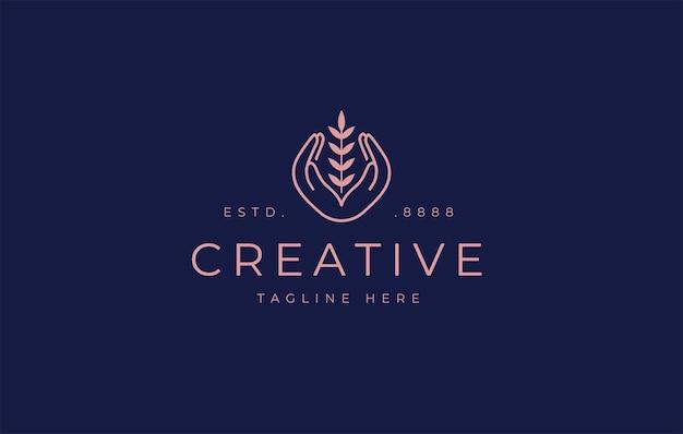 Progettazione del logo della giornata mondiale dell'alimentazione modello dell'icona del grano delle mani