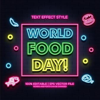 Effetti del testo al neon della giornata mondiale dell'alimentazione