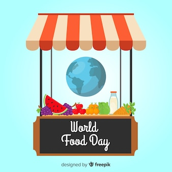 Negozio della giornata mondiale dell'alimentazione con prodotti
