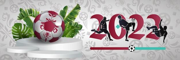 Coppa del mondo di calcio con realistico d pallone da calcio sport poster banner flyer design moderno concetto f...