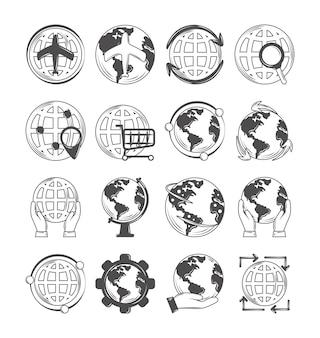 Mappa globale del mondo, icone di viaggio, shopping, salva il pianeta e altro ancora