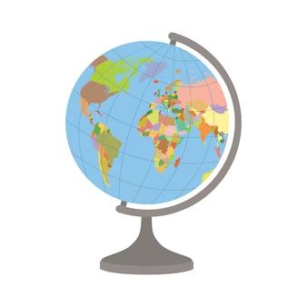 Globo del mondo su un supporto. mappa politica del mondo.