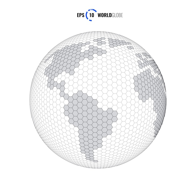 Globo del mondo modello 3d moderno sci fi futuristico illustrazione vettoriale concept