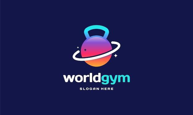 World gym fitness logo progetta il concetto, modello di logo di ginnastica