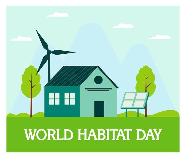 Giornata mondiale dell'habibat con casa in design piatto