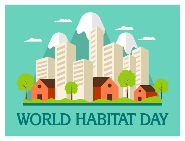 Giornata mondiale dell'habitat in concetto piatto