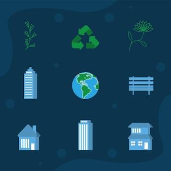 Icone della giornata mondiale dell'habitat