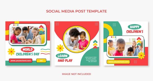 Modello di post sui social media per la giornata mondiale dei bambini felici