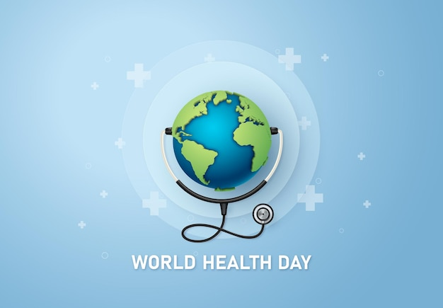 Concetto di giornata mondiale della salute, arte della carta e stile artigianale digitale.