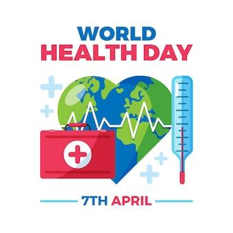 Illustrazione di giornata mondiale della salute con kit di pronto soccorso e pianeta