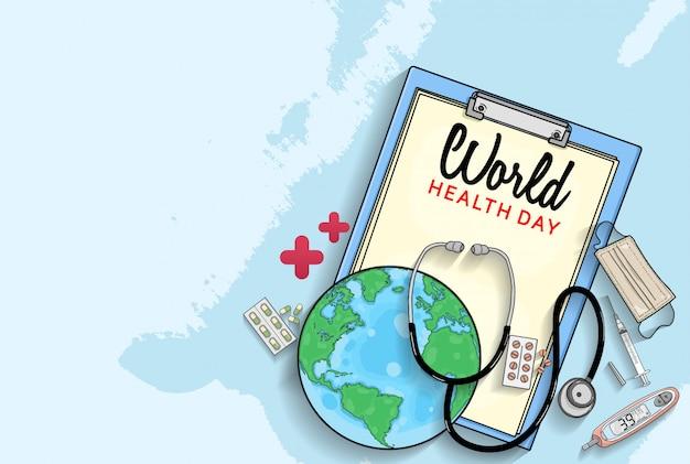 Manifesto della giornata mondiale della salute con attrezzature mediche