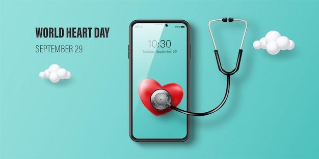 Insegna di giornata mondiale del cuore, cuore rosso sullo schermo dello smartphone, consultazione di medico online e concetto dell'assicurazione malattia.