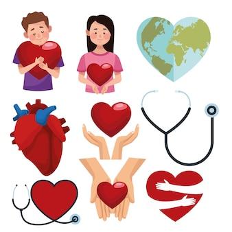 Pacchetto di icone fisse per la giornata mondiale del cuore.