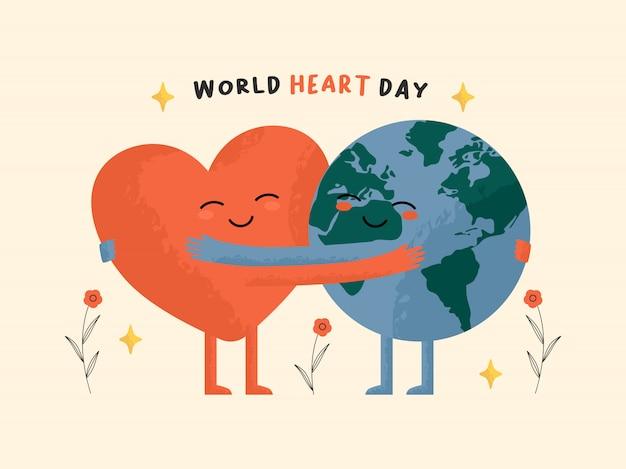 Concetto di giornata mondiale del cuore. terra e cuore che si abbracciano insieme. giornata mondiale della terra, della salute, umanitaria, dell'ambiente.