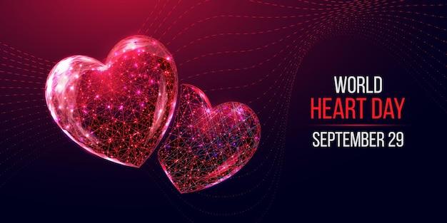 Concetto di giornata mondiale del cuore. stile wireframe basso poli.