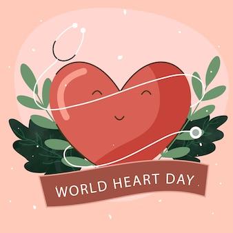 Concetto di giornata mondiale del cuore con cuore di smiley