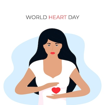 L'illustrazione della giornata mondiale del cuore per il concetto di amore e supporto, la consapevolezza dell'assistenza sanitaria con la ragazza tiene la forma del cuore.