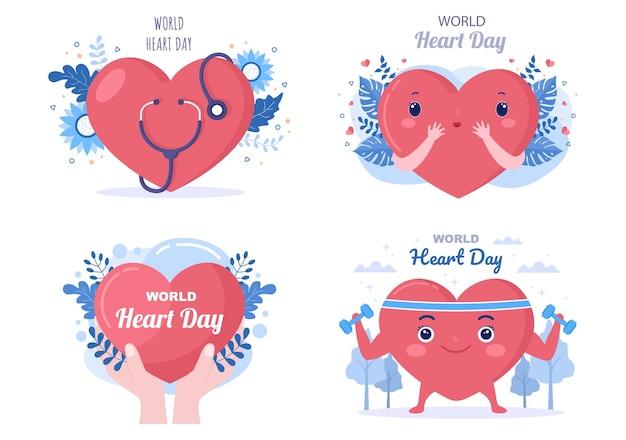 Illustrazione della giornata mondiale del cuore per sensibilizzare le persone sull'importanza della salute, della cura e della prevenzione di varie malattie. design piatto Vettore Premium