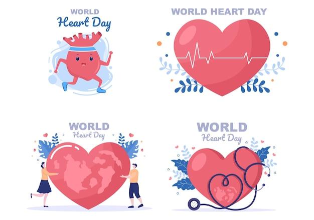 Illustrazione della giornata mondiale del cuore per sensibilizzare le persone sull'importanza della salute, della cura e della prevenzione di varie malattie. design piatto