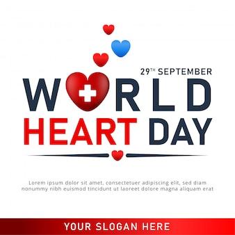 Poster della giornata mondiale del cuore. banner web con cuore rosso.