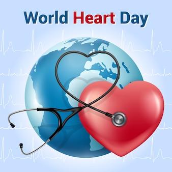 Giornata mondiale del cuore. banner in stile realistico. cuore rosso con un fonendoscopio (stetoscopio). cardiogramma su sfondo blu.