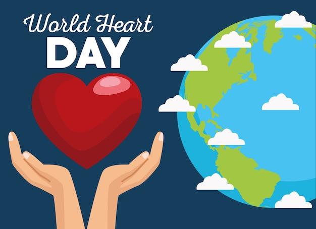Giornata mondiale del cuore con le mani che proteggono il cuore e il pianeta.