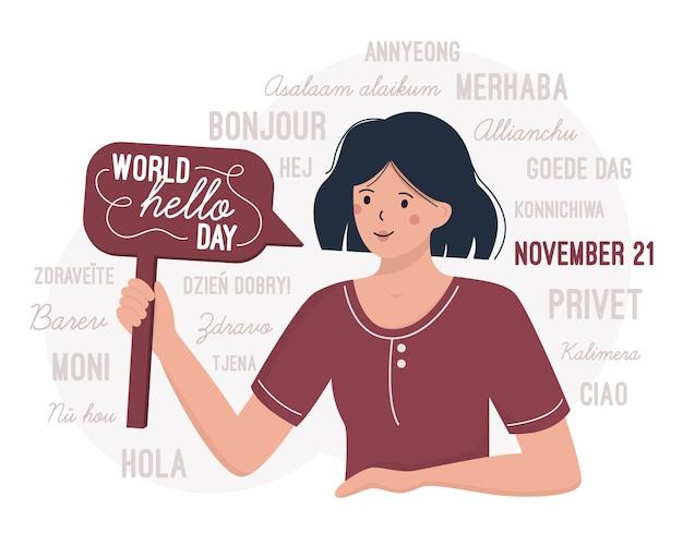Giornata mondiale del ciao 21 novembre. una donna si congratula per la giornata internazionale dei saluti