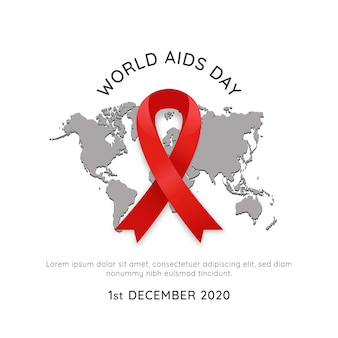 Manifesto dell'evento del 1 ° dicembre di giornata mondiale contro l'hiv aids con mappa del mondo e illustrazione semplice di vettore del nastro rosso
