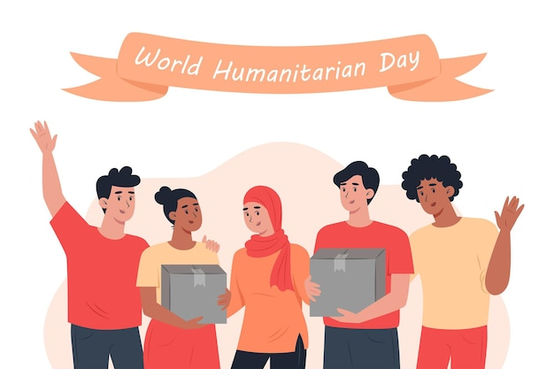 Giornata mondiale umanitaria, un gruppo di volontari con in mano una scatola di cartone