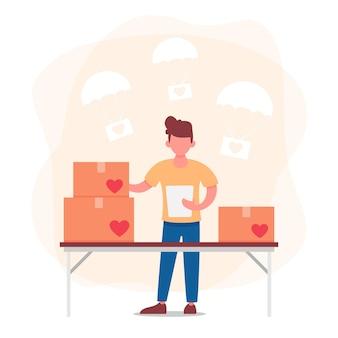 Giornata mondiale umanitaria con uomo che prepara scatole