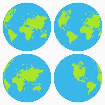 Insieme dell'icona del mondo. collezione globo terrestre, pianeta. illustrazione vettoriale.