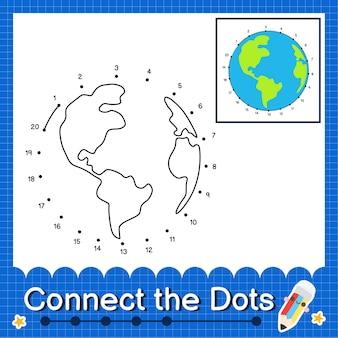 World kids collega il foglio di lavoro con i punti per i bambini che contano i numeri da 1 a 20