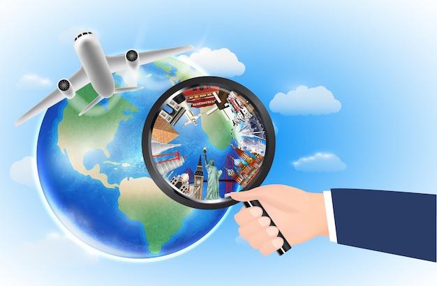 Punto di riferimento mondiale in lente di ingrandimento con aereo