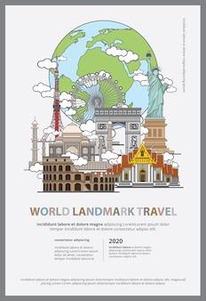 Il modello di poster di viaggio punto di riferimento mondiale