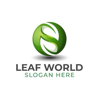 Logo sfumato mondo foglia o mondo verde, riciclare logo design