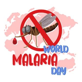 Carattere della giornata mondiale della malaria sullo sfondo della mappa del mondo con una zanzara