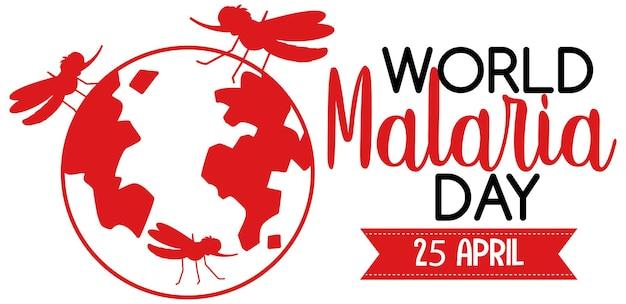 Logo o banner della giornata mondiale della malaria con segno di zanzara sulla terra