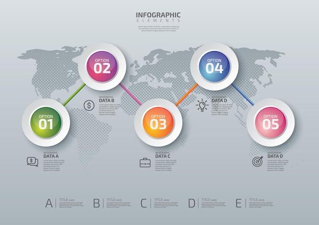 Infografica aziendale sulla mappa del mondo
