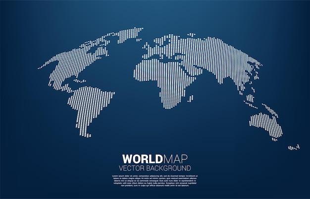 Mappa del mondo dal concetto di pixel quadrati di illustrazione globale